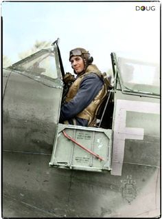 """Group Captain Adolph Gysbert """"Sailor"""" Malan in the Spitfire Mk IX (FY-F) of an Australian Squadron lead by Squadron Leader Hugo 'Sinker' Armstrong, CO of 611 Squadron RAF at Biggin Hill on the 2nd January 1943. Armstrong was shot down and killed in this Spitfire a month later, on 5th February. He was 'bounced' by eight Fw 190s of 5/JG26 over Boulogne. (© IWMCH 8119) (Colourised by Doug)"""