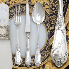 """Antique French Sterling Silver Flatware Set, in Box: """"Helene"""" Silver Cutlery, Vintage Cutlery, Sterling Silver Flatware, Silver Spoons, Flatware Set, Silver Jewelry, Silver Ring, Sterling Silverware, Spoon Jewelry"""
