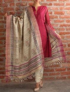 Khadi Kurta-Silk Dupatta Salwar Suit- Red&Cream: Buy Handloom ...