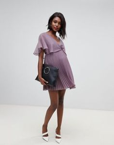 6cd3100a392 ASOS DESIGN Maternity flutter sleeve mini dress with pleat skirt Asos  Maternity