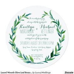 Laurel Wreath Olive Leaf Branch Modern Round Invitation