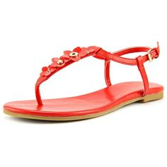 Cole Haan Effie Floral Sandal Women Thong Sandals ($117) ❤ liked on Polyvore featuring shoes, sandals, red, leather shoes, floral shoes, leather sandals, red shoes and toe thongs