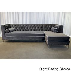 Decenni Tobias Glamorous Regency Grey Velvet Tufted 8-foot Sectional - Overstock™ Shopping - The Best Prices on Sofas & Loveseats