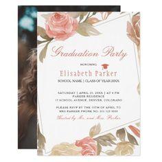 Elegant pastel floral PHOTO Graduation Party Invitation Elegant Invitations, Custom Invitations, Graduation Announcement Cards, Invitation Kits, Rose Frame, Graduation Party Invitations, Pastel Floral, Custom Photo, Rsvp