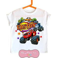 Blaze And The Monster Machines Birthday Shirt By MyLollipopLove Sprinkling Bows Personalized T Shirts For Kids