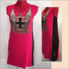 Bus Stop Sexy Hot Pink Rhinestone Top Bus Stop Sexy Hot Pink Rhinestone Cross Wings Tattoo Lace Top Biker Bling. Used, in nice condition. 1x, fits more like a xl Bus stop Tops