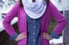 Huge Color Block Crochet Wrap Scarf Shades of Grey Soft