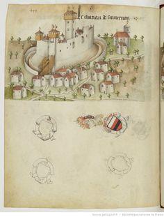 « Registre d'armes » ou armorial d'Auvergne, dédié par le hérault Guillaume REVEL au roi Charles VII.  Date d'édition :  1401-1500  Français 22297  Folio 444