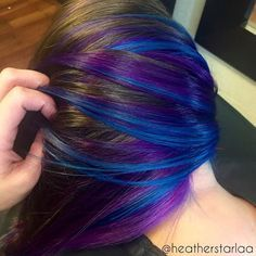 in 2019 hair hair styles, dyed hair, Underlights Hair, Violet Hair, Top Hairstyles, Latest Hairstyles, Hair Highlights, Rainbow Highlights, Bright Highlights, Purple Peekaboo Highlights, Purple Peekaboo Hair
