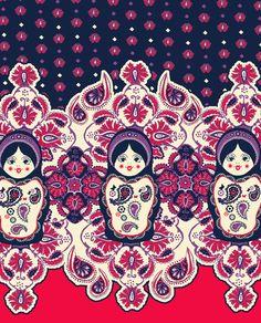 Russian doll (matryoshka) & paisley fabric