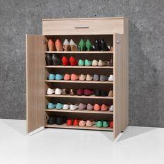 Stewart Shoe Cabinet In Sonoma Oak With 2 Doors - Shoe Storage Cabinets, Wooden, Oak, Mirror, Furnitureinfashion UK Shoe Cabinet Design, Shoe Storage Cabinet, Shoe Storage With Doors, Storage Cabinets, Shoe Rack With Shelf, Diy Shoe Rack, Hallway Furniture, Furniture Sale, Shoe Drawer