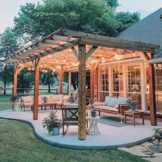 48 backyard porch ideas on a budget patio makeover outdoor spaces best of i like this open layout like the pergola over the table grill 42 Outdoor Pergola, Backyard Pergola, Backyard Landscaping, Landscaping Ideas, Outdoor Spaces, Pergola Lighting, Outdoor Lighting, Modern Pergola, Cheap Pergola