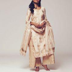 Set of Beige Silk Kurta with Tusser Silk Dupatta & Poly Cotton Bottoms Women's Ethnic Fashion, Indian Fashion, Indian Dresses, Indian Outfits, Indian Clothes, Silk Kurtas, Kurta Designs Women, Silk Dupatta, Indian Couture
