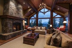 stone fireplace/post and beam home/amazing view