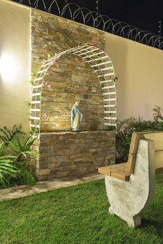 Home Altar Catholic, Grotto Design, Marian Garden, Compound Wall Design, Sacred Garden, Prayer Corner, Glamour Decor, Garden Water Fountains, Prayer Garden