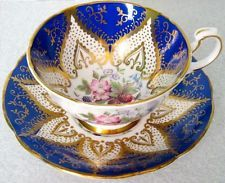 Paragon Outstanding Royal Blue Rich Gold Flowers & Berries Cabinet Cup Saucer