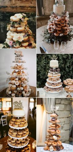 White Wedding Cakes budget friendly wedding cake ideas with donut tower for 2019 trends - Instead of a traditional wedding cake, I'd prefer the ideas of a deep fried deliciousness. They are a tasty treat, everyone loves them and they. Donut Wedding Cake, Wedding Donuts, Wedding Cake Stands, Unique Wedding Cakes, Wedding Cake Designs, Wedding Desserts, Wedding Cake Toppers, Wedding Decorations, Budget Wedding Cakes