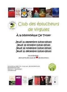Club des éplucheurs de virgules le jeudi 16 novembre 2017 de 13h30 à 15h30 à la bibliothèque De Troyer