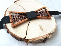 Metal, wooden and leather bow tie, Handmade