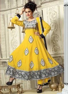 $79 Cbazaar #Yellow #ReshamEnhanced #Georgette #ChuridarSuit