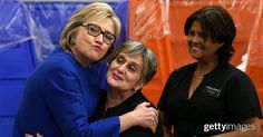 Democratic presidential candidate and former Secretary of State Hillary Clinton (L) meets with service workers at Caesars Palace on February 18, 2016 in Las Vegas, Nevada. With two days to go before the democratic caucuses in Nevada, Hillary Clinton is campaigning in Las Vegas.
