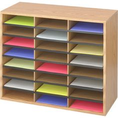 Safco 24 Compartment Wood Corrugated Organiser Medium Oak 9402MO