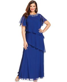 Alex Evenings Plus Size Flutter-Sleeve Embellished Tiered Gown