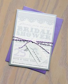 Bridal Shower Lace Invites Invitations Purple Lilac by BeaconLane, $100.00