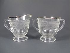 MacBeth Evans Cream and Sugar Set S Pattern, Stippled Rose, Depression Glass, Gift, Home Decor, Etched by TheRoseGardenVintage on Etsy