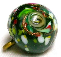 UBER FABULOUS 1890'S GLASS BALL BUTTON w/ROSES, RIBBONS & SPATTER OVERLAYS