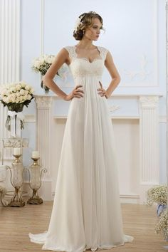 Cheap bridal gown, Buy Quality chiffon wedding directly from China chiffon wedding dress Suppliers: Vestidos De Noiva Stock White/Ivory Sweetheart Lace A-line Chiffon Wedding Dresses Robe De Mariage Pleats Open Back Bridal Gowns Beach Bridal Dresses, Modest Wedding Gowns, Wedding Dresses With Straps, Wedding Dress Chiffon, Bride Gowns, Cheap Wedding Dress, Lace Chiffon, Dress Beach, Party Dresses
