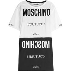 Moschino Printed T-Shirt Dress (515 AUD) ❤ liked on Polyvore featuring dresses, tops, moschino, shirts, multicolored, oversized t shirt dress, tee shirt dress, white t-shirt dresses, moschino dress and white day dress