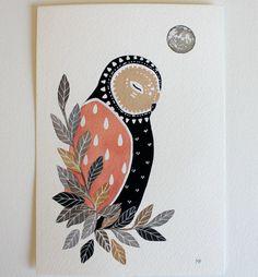 Owl Illustration Painting - Little Owl Luna - Watercolor Art - 8x10 Archival Print by Marisa Redondo. $20.00, via Etsy.
