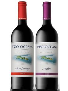 Leading South African wine brand Two Oceans is now sold exclusively in light-weight 350 gram bottles that are fully recyclable. The label, its inks and adhesive are also biodegradable. South African Wine, Wine Brands, Wine Packaging, In Vino Veritas, Wine Labels, Water Recipes, Wine And Spirits, Fine Wine, Wineries