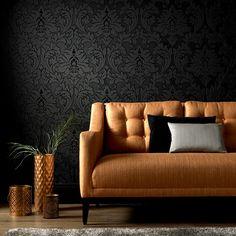 Majestic Black Wallpaper - Designer Black Wall Coverings by Graham  Brown