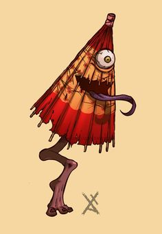 傘お化け (Umbrella Ghost)  Kasa-obake are a type of tsukumogami (japanese object spirits), the spirits of parasols who have reached their 100th birthday. They have one eye, a protruding tongue from an agape mouth, and a single foot, usually wearing a geta.