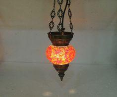 Moroccan lantern mosaic hanging lamp glass chandelier light lampen candle h 204  #Handmade #Moroccan