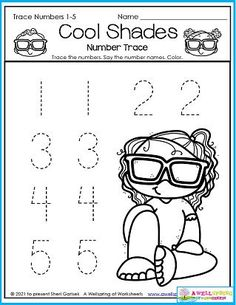 Every kid needs a pair of sunglasses so they can feel as cool as the girl in this summer worksheet. And they can feel cool because they've practiced writing the numbers 1-5! Please check out my entire set of 30 August Counting Worksheets. It includes 30 cool page just as fun and engaging as this one. Thank you ahead of time! :) Counting Worksheets For Kindergarten, Summer Worksheets, Graphing Worksheets, Kindergarten Math, Trace Trace, Number Tracing, Writing Lines, 30 August, Learn To Count