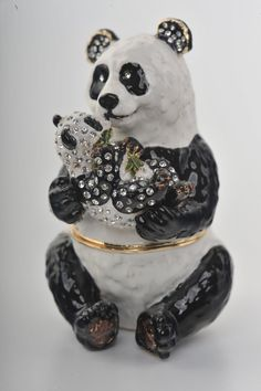 Mother & Child Panda Bears Faberge Styled Trinket Box Handmade by Keren Kopal Enamel Painted Decorated with Swarovski Crystals