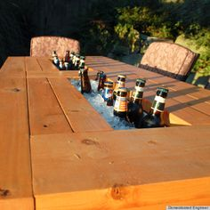 Built-in cooler table for outdoor entertaining
