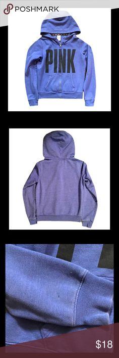 VS PINK Zip Up Hoodie Gently used VS PINK purple zip up hoodie. Has small spot on right sleeve.                                                                                                                     Size Small PINK Victoria's Secret Tops Sweatshirts & Hoodies