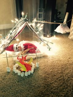 Cutest elf on the shelf idea! Elf on the shelf camp out with marshmallow fire pit!!