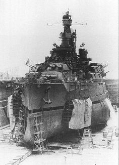 Another view of 14 in battleship USS Nevada (see picture nearby), this time in dry dock post war on December 2 1945, with a good view of her underwater protection 'bulges' - common in dreadnought era designs.