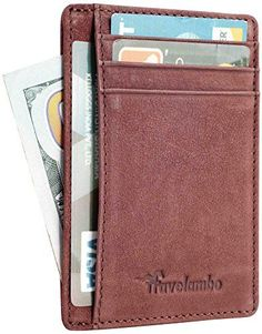 """Travelambo Front Pocket Wallet Minimalist Wallets Leather Slim Wallet Money Clip RFID Blocking(vegetable tanned brown): Slim, only 0.12"""" thick, sizing 3.3"""" X 4.1"""" X 0.12""""; 100% genuine leather, soft and durable; RFID blocking for perfect protection of your personal and financial data in credit card and debit card; 6 slots in total for standard size cards; convenient to be carried around in your front pocket."""