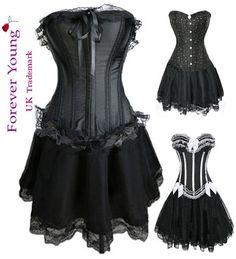 Burlesque Moulin Rouge FANCY DRESS Costume Corset+Skirt
