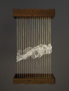 "MAGGIE CASEY Model: Cloud (2006) Thread, silk organza, copper tacks, wood, 18"" x 12"" x 30"""