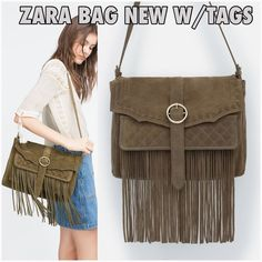 Zara New with tags leather suede bag fringed Very cool New with tags Zara bag.   Split suede finish. Fringed detail on the front. Shoulder strap. Front pocket. Lining with interior pocket. Magnet closure very roomy inside  brand new in perfect condition from a smoke/pet free home   Color is Khaki Beige with somewhat of light Greenish hue.  ref433 Zara Bags Shoulder Bags