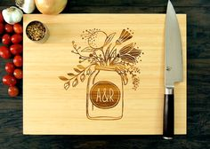 Personalized Wedding Gift Cutting Board Anniversary by WoodKRFT