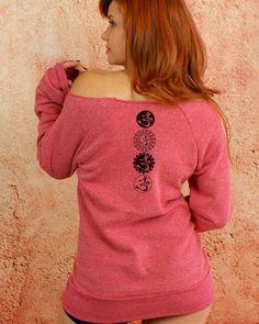 Ohm Symbols - Pink Sexy Feminine Girly Off The Shoulder Long Sleeve Raw Neckline #Sweatshirt $39.50 #GoddessGearDesigns