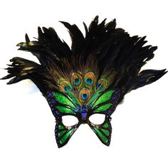 Feather Face Masks | Free Download Peacock Feather Mask Half Face Venetian With Silver ...